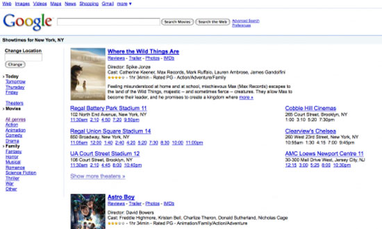 Find Local Movie ShowTimes, Find Local Movie With Google